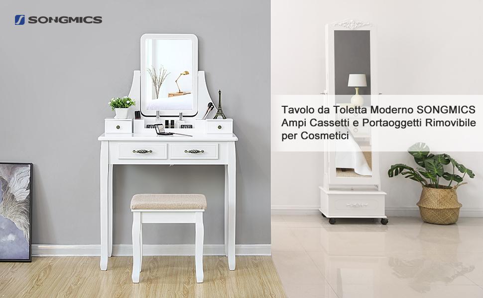 Songmics tavolo da toletta bianco moderno con specchio e sgabello