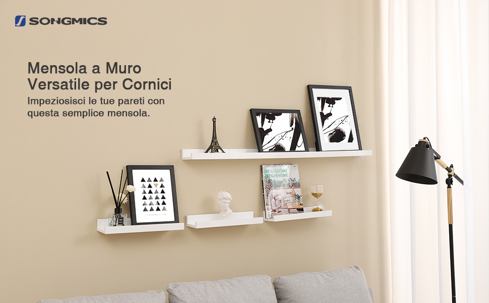 Montaggio Mensole A Muro.Songmics Mensole A Muro Di Legno Per Cornici E Libri Ripiani Da