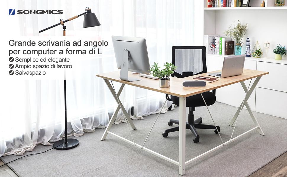 Disposizione Scrivania Ufficio : Songmics scrivania ad angolo tavolo da computer scrittoio a forma