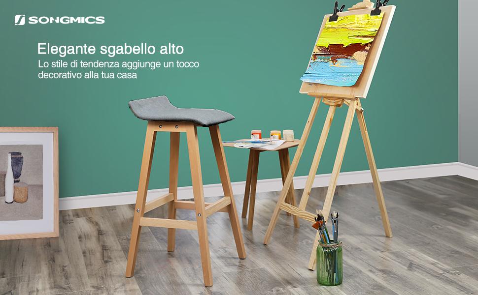 Sgabelli Alti Con Gambe In Legno : Songmics set di sgabelli da bar stabile con gambe in legno