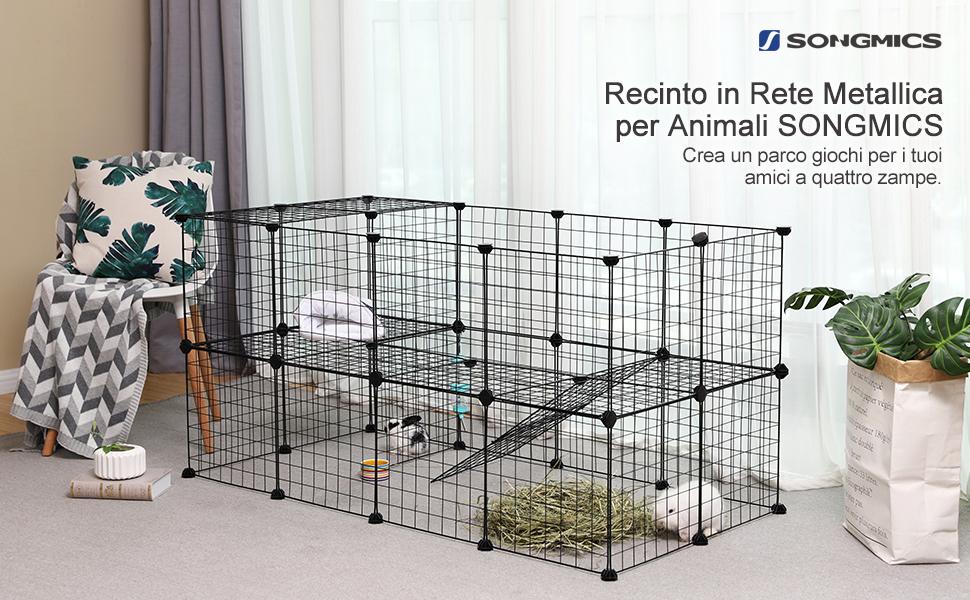 Pavimento In Gomma Per Box Cani : Songmics recinzione per animali a piani recinto