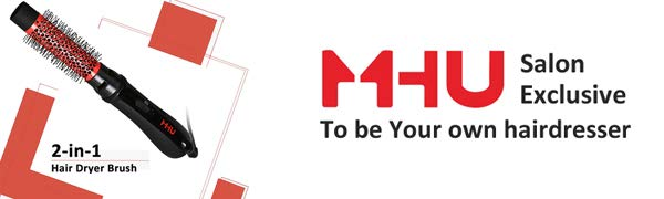 MHU ION Asciugacapelli spazzola Salon One Step Hair Asciugacapelli e Volumizzante 750W spazzola aria calda, 32mm, ceramica