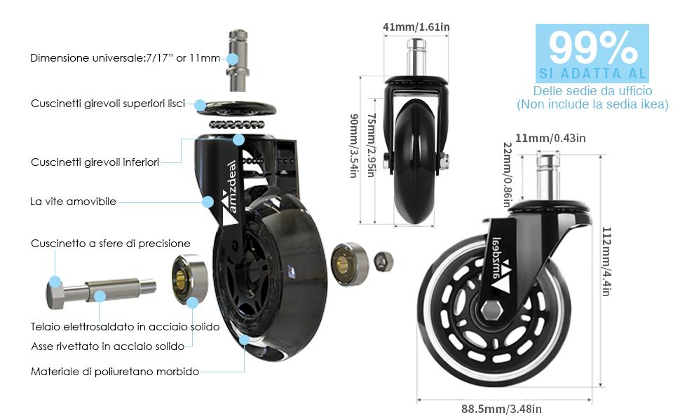 5 Pezzi rotelle silenziose e sicure per Pavimenti in Legno Yemi Ruote di Ricambio in Gomma per Sedia da Ufficio Colore Nero 3,10x22mm,with Brake