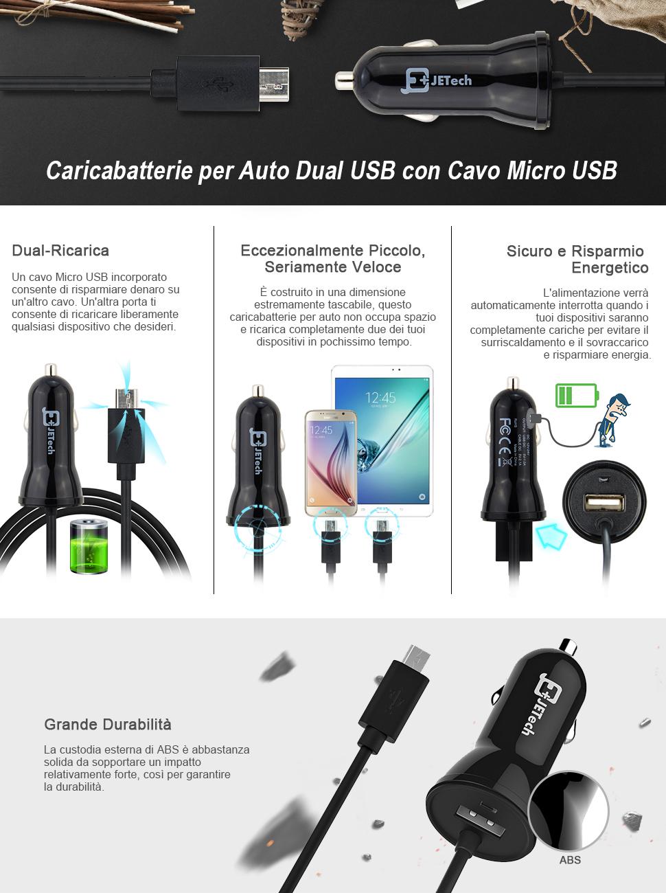 Nero JETech Caricabatteria Auto 2 Porte con Cavo Micro USB