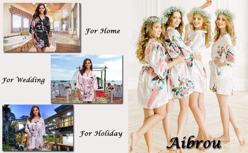 Aibrou Kimono Vestaglia da Donna per Vacanze Nozze Casa
