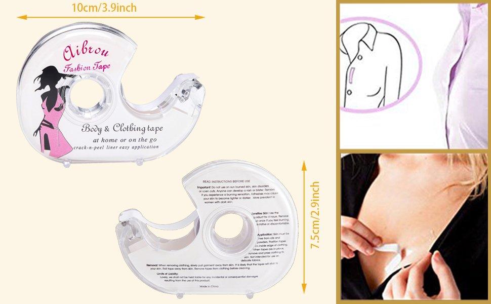 Aibrou Fashion Tape Nastro Biadesivo Invisibile Nastro Adesivo per Reggiseno Donna Profondo V Vestito Abito 3M//5M