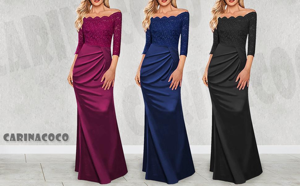 8dc1fae27123 CARINACOCO Donna Eleganti Vestiti Lunghi Senza Spalline Pizzo Giuntura  Vestito Manica Lunga Vintage Abito Maxi