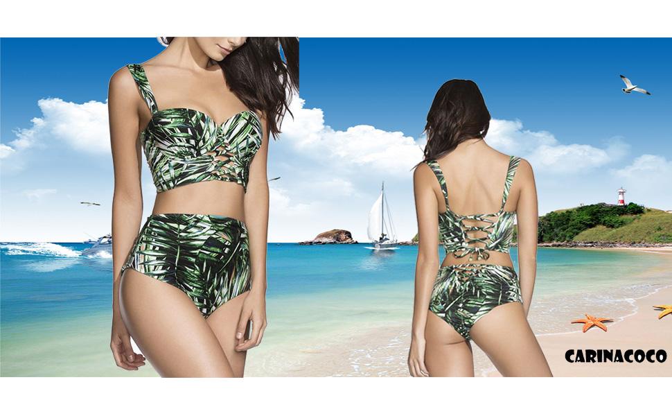 carinacoco Donna Bikini Coordinato Costumi da Bagno Triangolo Stampato Foglie di bamb/ù Due Pezzi Push up Reggiseni Slip Pantaloncini Costumi Interi Beachwear Mare e Piscina