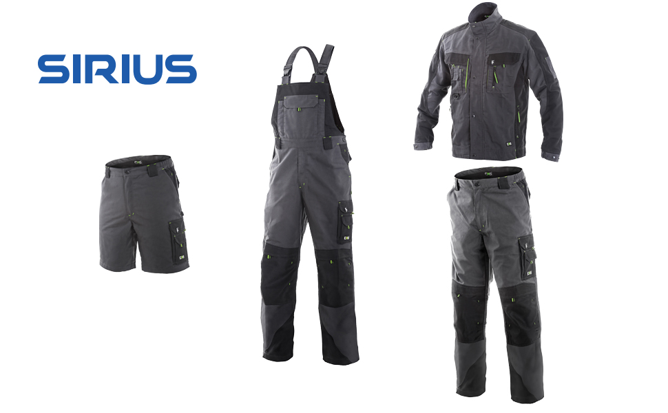 Uomo DINOZAVR Sirius Pantaloni da Lavoro multitasca Extra Resistenti Grigio//Nero