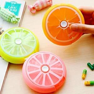 ROSA Portapillole Medicina Organizzatore Rotondo Scatola Stile Limone per Pillole Settimanale Contenitore