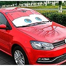 SYM TOP Parabrezza Parasole Visiera Auto Cars Cartoon Occhi Universale Rosso