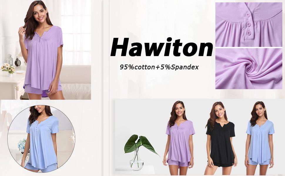 Pantaloni Corti Completino Casual per Casa Mare Hawiton Donna Tuta Estiva Set Pigiama da Notte in Cotone Due Pezzi T-Shirt Tops