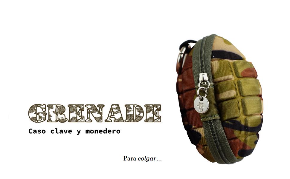 Granada - Caso Clave Monedero Militar Mosquetón Cartera Billetera Moro Camuflaje