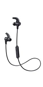 AUKEY Cuffie Bluetooth Sport Bassi Potenziati, Auricolari Wireless in Ear con 8 Ore di Tempo di Utilizzo, Resistente al Sudore, Microfono Incorporato, per iPhone, Huawei, Samsung