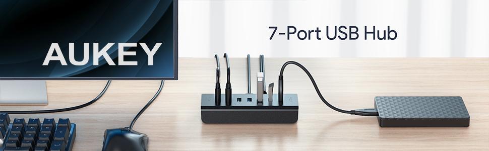 AUKEY - Hub USB 3.0 de 7 puertos con adaptador de 12 V/2.5 A y cable USB 3.0 de 1 m, compatible con Windows XP/Vista/7/8, Mac OS, Linux, etc.(color ...