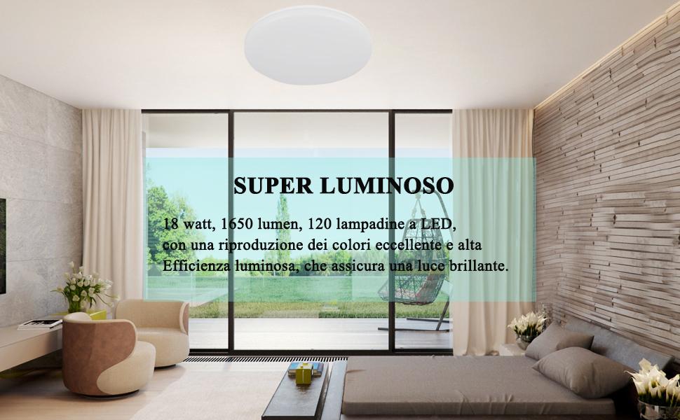 Plafoniere Ultra Sottile Salotto : Öuesen plafoniera led 18w lampada soffitto pari a luce da 100w