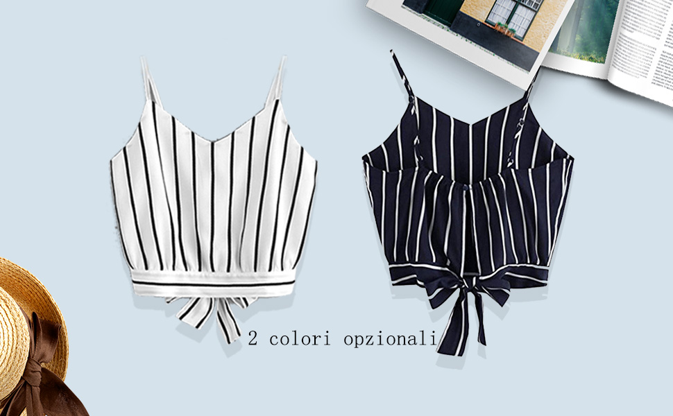 heekpek Donna Crop Top Estate Camicetta Senza Maniche T-Shirt Camicia Donna Elegante Camicia Blusa Tops Camisole Canotte Scollo a V Stripe Crop Top T-Shirt