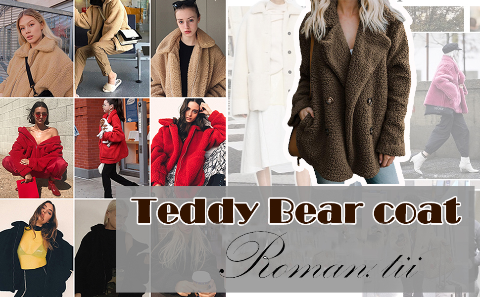 """Cappotto lungo """"Teddy Bear"""" nero JUST FOR YOU"""