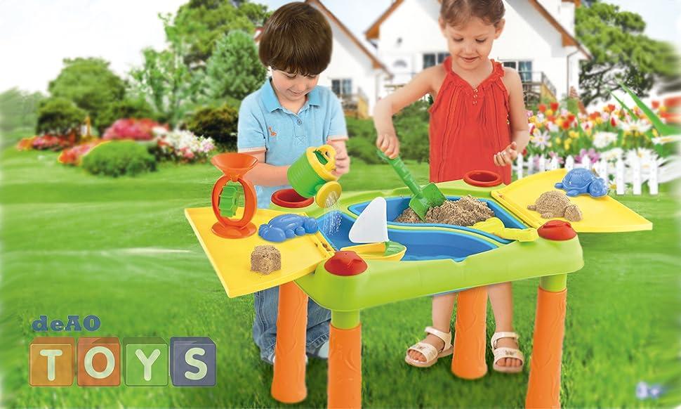 Tavoli Da Gioco Per Bambini : Deao tavolini acqua e sabbia con doppio compartimento e coperture