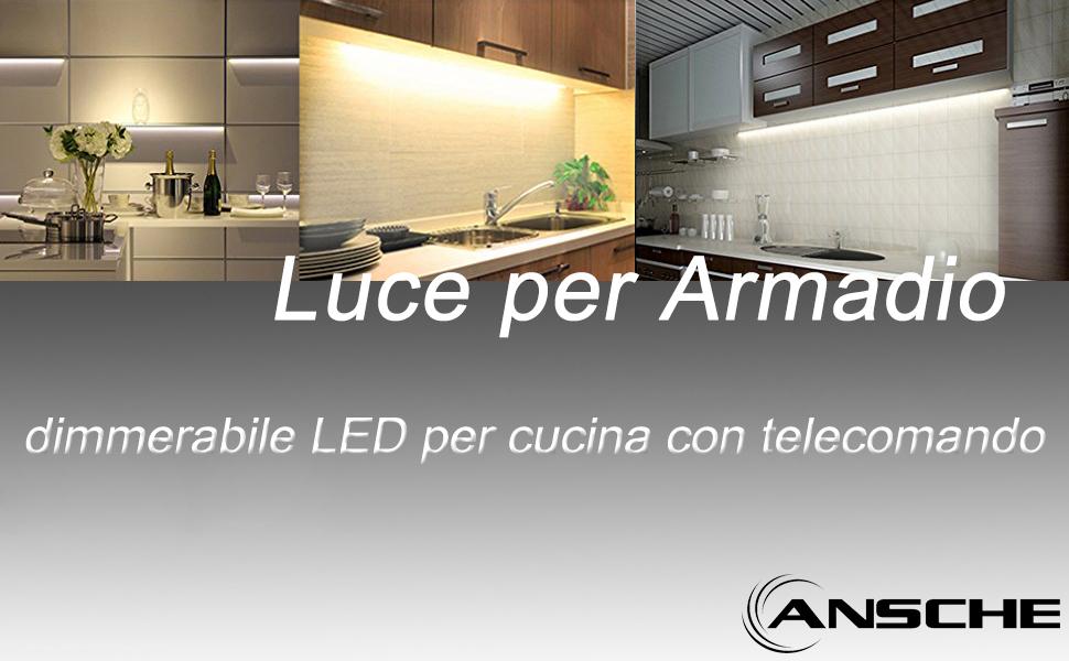 ANSCHE Luce per Armadio, Set di 3 luce dimmerabile LED per cucina ...