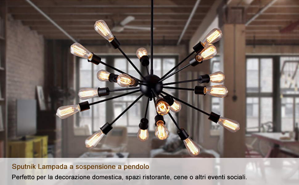 Lingkai 18 light industrial style sputnik lampada a sospensione a