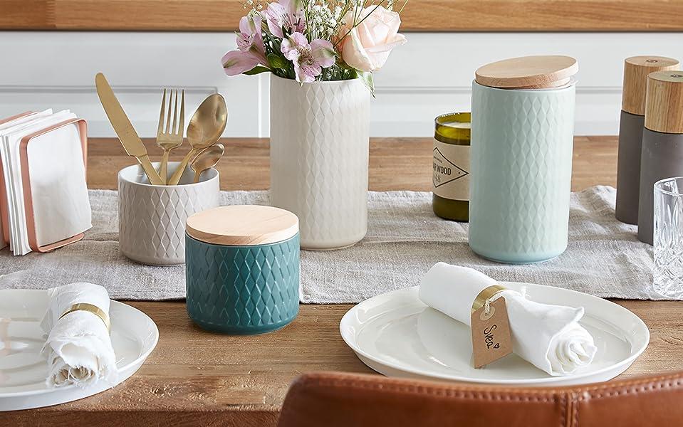 Barattoli per la conservazione Barattoli per provviste in ceramica con coperchio Misty Cliff Barattoli salvafreschezza 10,1 x 9,3 cm grigio chiaro