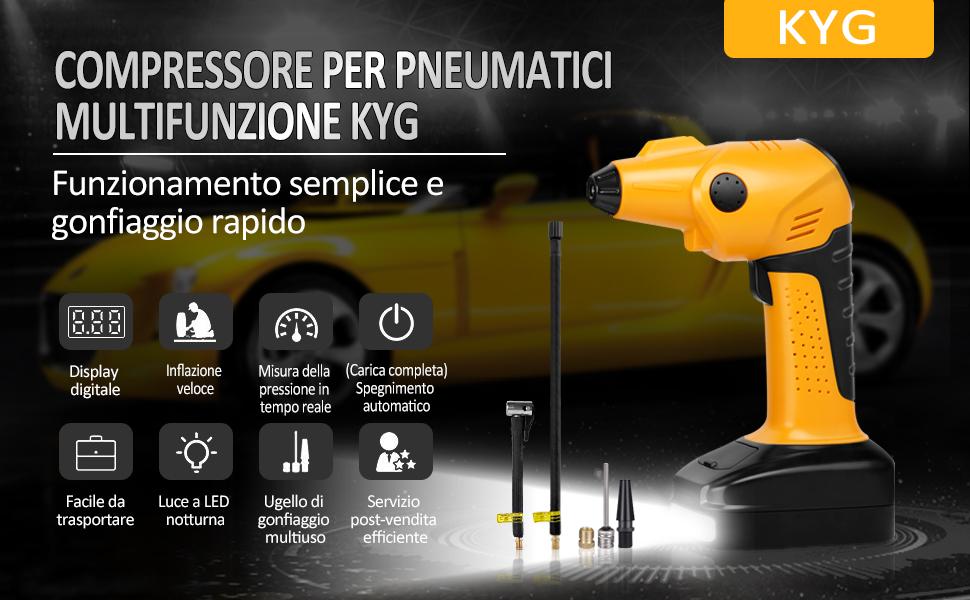 KYG Compressore Auto Portatile Automatico Compressore Aria Mini Pompa Elettrica per Pneumatici con Schermo Retroilluminato LCD Digitale Ricaricabile 50L//Min Illuminazione per Auto e Gonfiabili