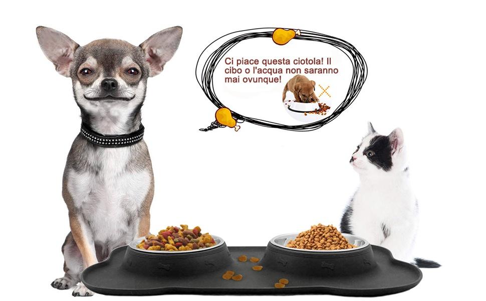 LdawyDE Ciotola per Catti Ciotola per Cani Criceti Ciotola per Cibo per Gatti Cani Conigli e Piccoli Animali 2 Pezzi Ciotole in Plastica Antiscivolo per Gatti