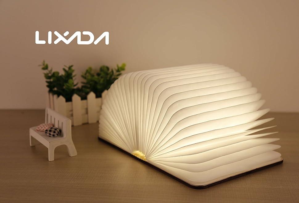 Lixada libro lampada luce led di legno pieghevole luci booklight