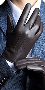 da genuina nappa pelle con foderata in peluche L = 8,9 Guanti Pelle Uomo inverno schermo tattile//dattilografare//guidare disponibileNero