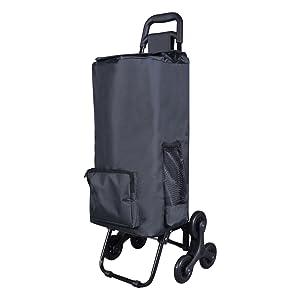 Disponibile in Nero LOMOS Carrello portaspesa Pieghevole Solido con Funzione saliscale Adatto Sia per Persone Giovani Che anziane