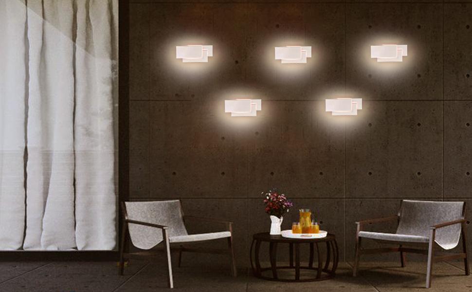 Ralbay lampada da parete led 24w ip20 applique da parete per interno