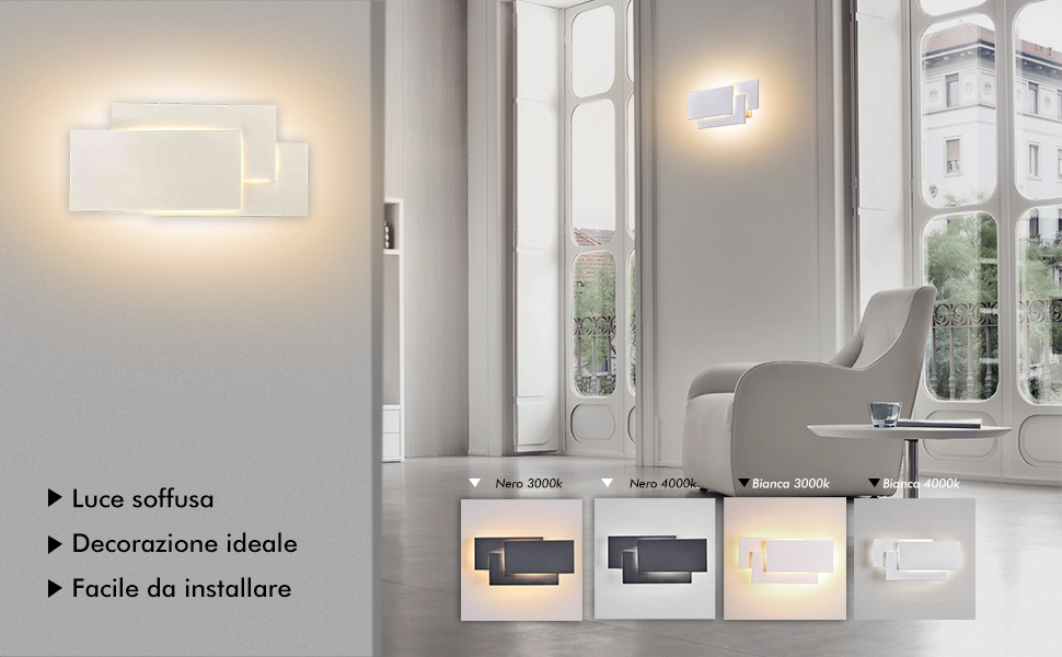 Ralbay lampada da parete led w ip applique da parete per