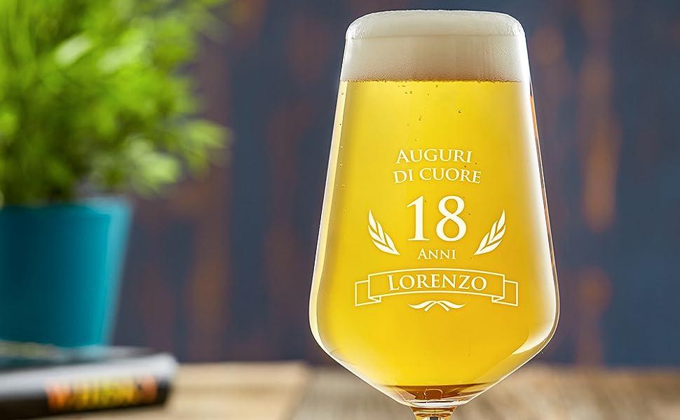 Amavel bicchiere da birra chiara con incisione per il compleanno