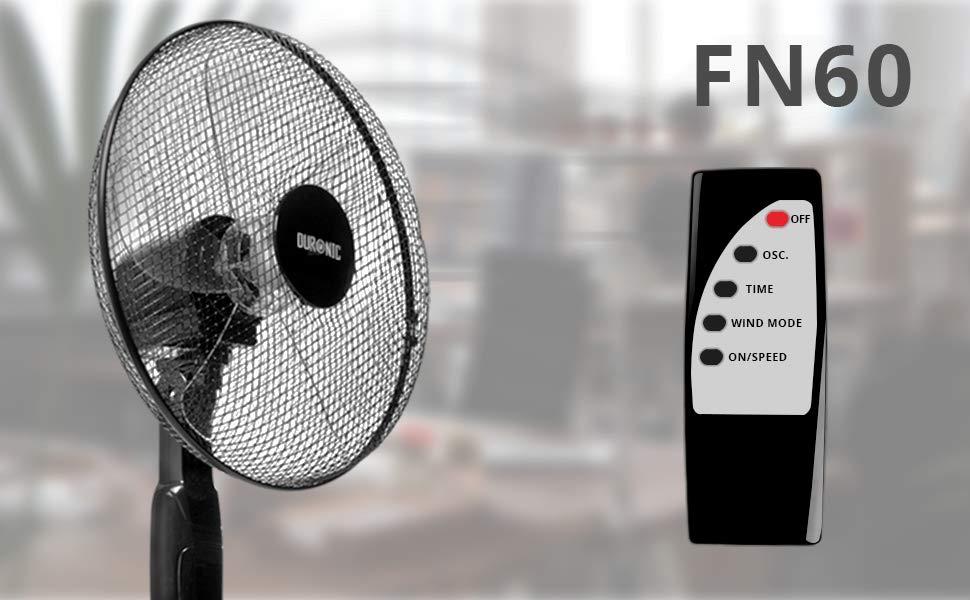 Potente e silenzioso 3 Funzioni e timer -Telecomando 3 Velocit/à Altezza regolabile 119 Duronic FN60 Ventilatore turbo oscillante a piantana 60W 5 Pale /Ø 45 cm a base circolare 137 cm