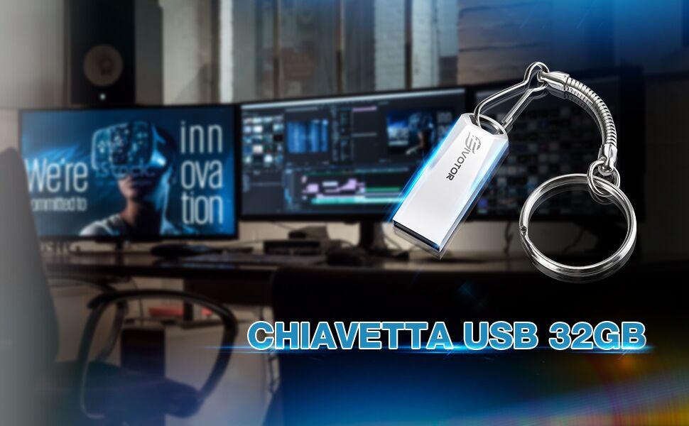 EIVOTOR Chiavetta USB 32GB Mini USB Stick Pen Drive 2.0 Chiavetta Memoria Portatile pendrive Flash Memory per Tablet//Notebook//Autoradio//Computer Argento