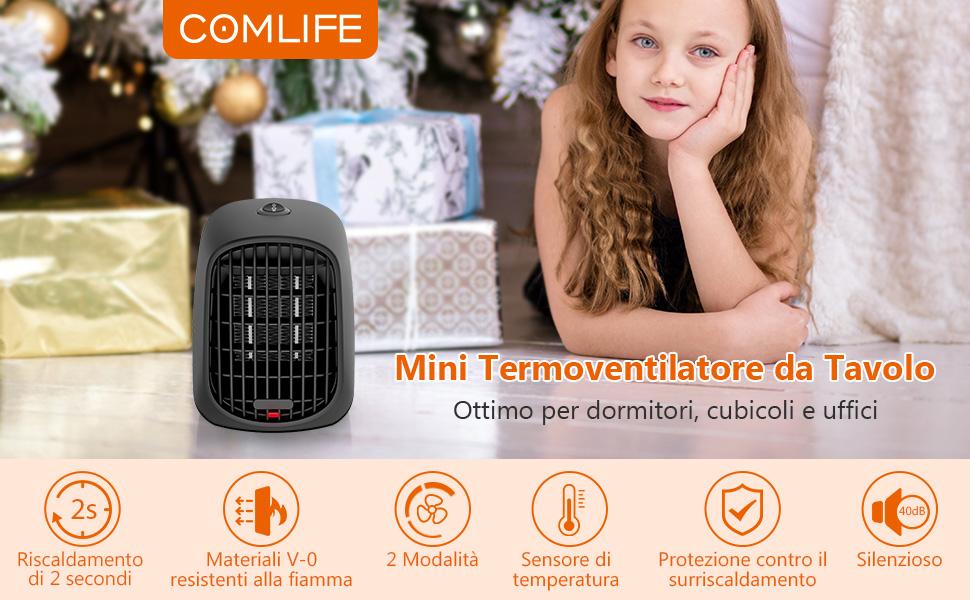 NEXGADGET Termoventilatore Ceramico Elettrico Riscaldatore 600W con Termostato Regolabile Calda e Fredda