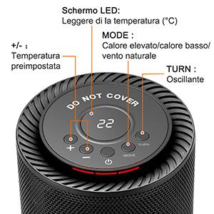 NUOVO comlife 1200W//600W elettrico in ceramica SPAZIO Riscaldatore Ventilatore Portatile Auto oscillare