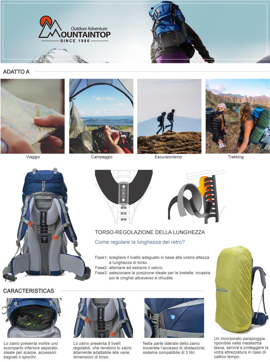 37d351340d Mountaintop 65L Zaino Trekking Impermeabile Escursionismo montagna  campeggio alpinismo viaggio