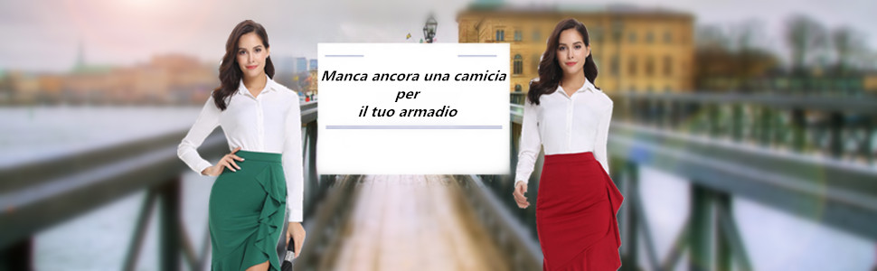 Abollria Donna Camicia Elegante a Manica Lunga Blusa Basic Camicetta Ideale per Ufficio Scuola e Lavoro Colloquio Adatto a Primavera Estate Autunno