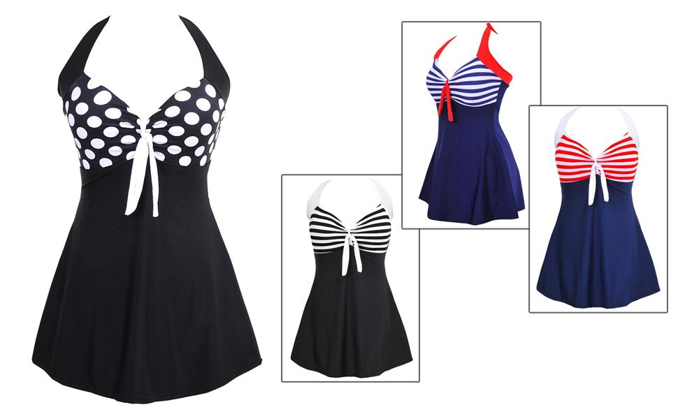 Halter Bikini Set Costumi da Bagno Un Pezzo con Gonna Integrato BOZEVON Costume Intero da Donna