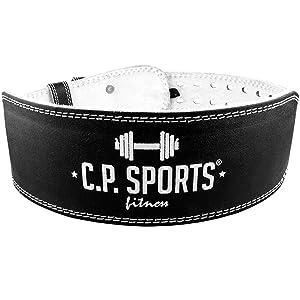 CP Sports - Cinturón para Levantamiento de Pesas (Piel, Talla XS-XXL), Color Negro