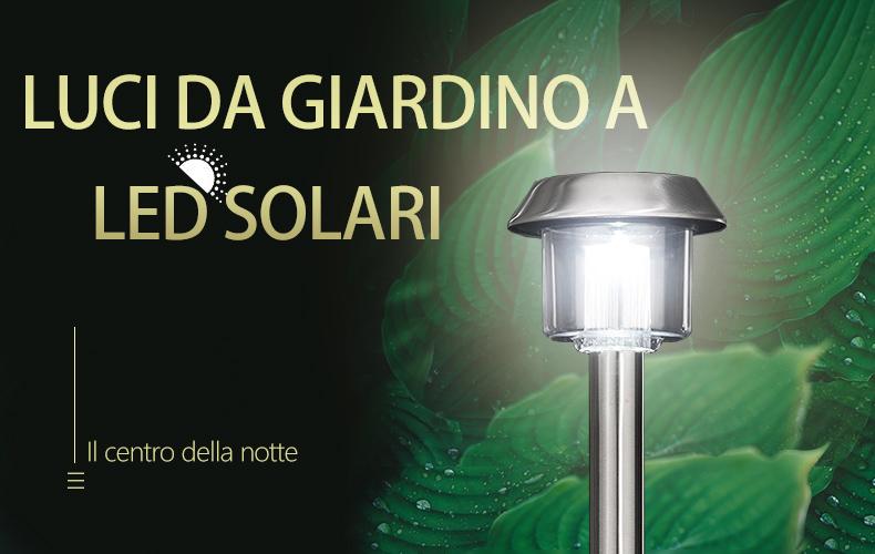 Meer luci da giardino solare a led in acciaio inox 15 lumen bianco