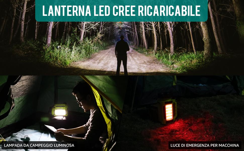escursionismo Camping Caccia Arancione Lanterna di campeggio torcia ricaricabile a Led Lanterna impermeabile LED 3000mAh Banca di potere per Emergency pesca di notte