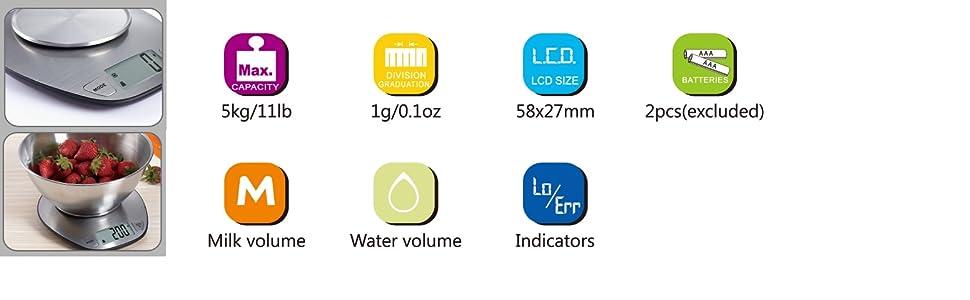 EXZACT Bilance da Cucina/ Bilancia Elettronica ad Alta Precisione con Ampio Display in Acciaio Inossidabile con Ciotola per Mescolare - 5kg / 11lb