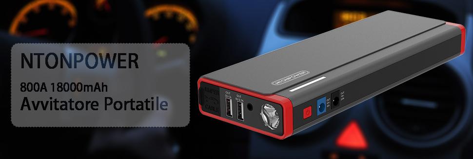 Auto e Moto Samfolk Avviatore di Emergenza,600 A 20000mAh Avviatore Batteria per Auto,Gasoline 6.0L e Diesel 3.0L,Batteria di Emergenza con Uscita USB di Ricarica e Torcia a LED Avviatori di emergenza