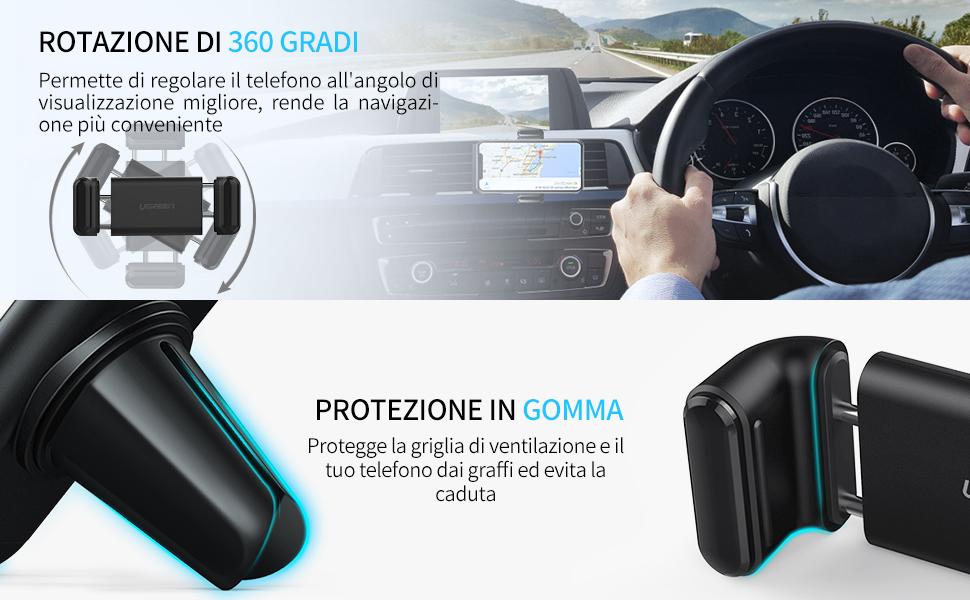 Nero LG Huawei Samsung UGREEN Supporto Smartphone per Auto Auto Porta Telefono Universale per Griglia di Ventilazione con Rotazione di 360 Gradi Supporto Auto per GPS Xiaomi ECC. iPhone