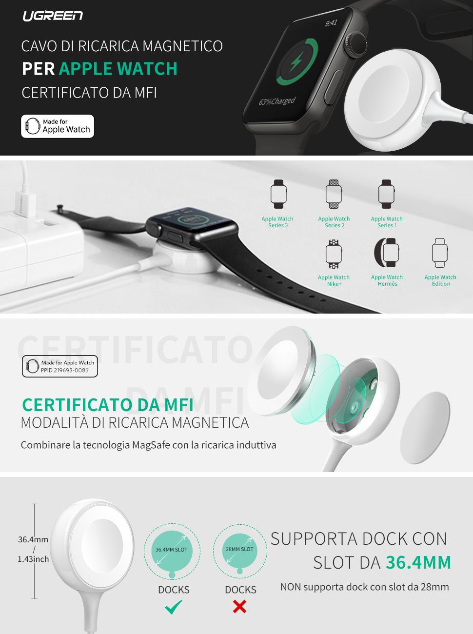 UGREEN Caricatore Apple Watch, Cavo Magnetico Portatile
