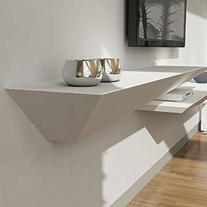Mensole Legno Laccato.Mensola Design Porta Tv A Muro Parete Legno Laccato Bianco