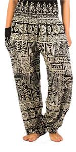 Lofbaz Donna Harem Colorato Smocked Waist Boho Pantaloni Yoga Pilates